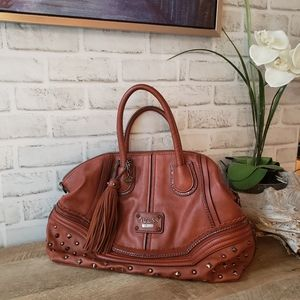 Brown GUESS studed shoulder spacious handbag